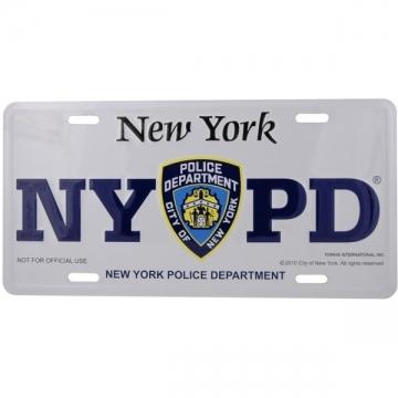 PLAQUE IMMATRICULATION NYPD WHITE