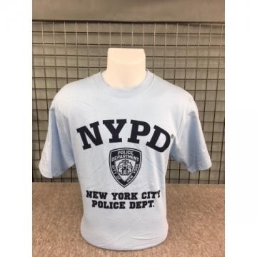 TEE-SHIRT BLEU CIEL NYPD LOGO CENTRE
