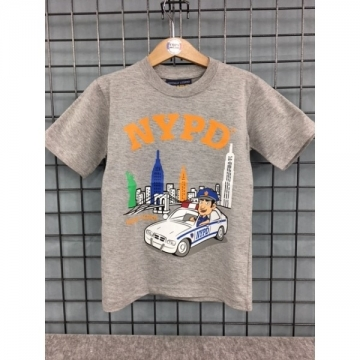 TEE-SHIRT KIDS GRIS VILLE & POLICIER NYPD