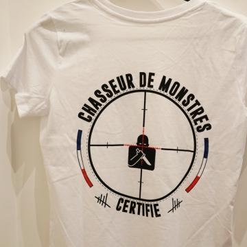 TEE-SHIRT FEMME BLANC CHASSEUR DE MONSTRES