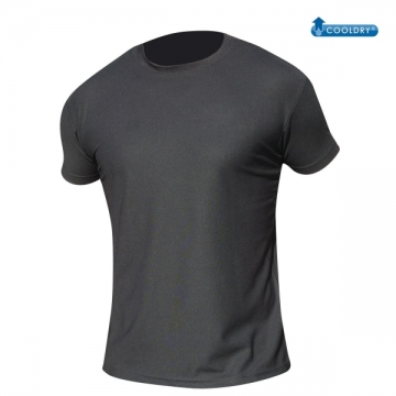 TEE SHIRT NOIR COOLDRY ANTI HUMIDITE MAILLE PIQUEE