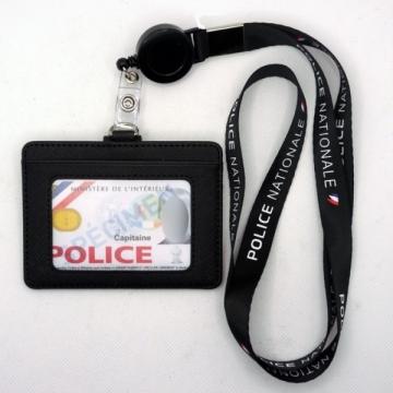 Tour de cou Police Nationale + enrouleur + porte-carte cuir noir
